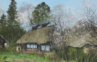 向井潤吉「一隅の梅」37×48cm