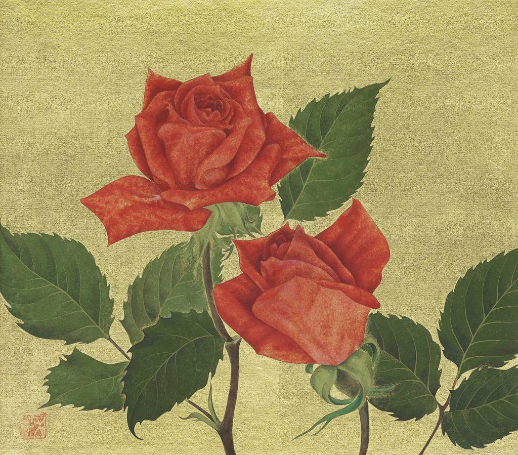 荻原季美子「薔薇」色紙