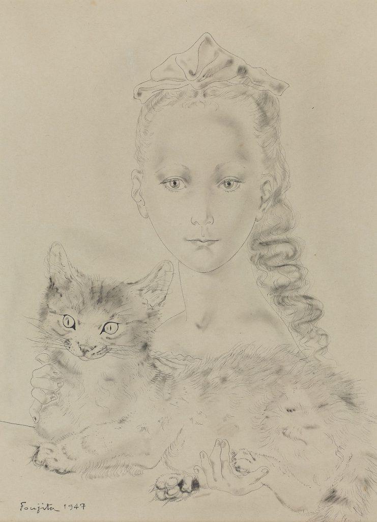 藤田嗣治「猫を抱く少女」36×27cm