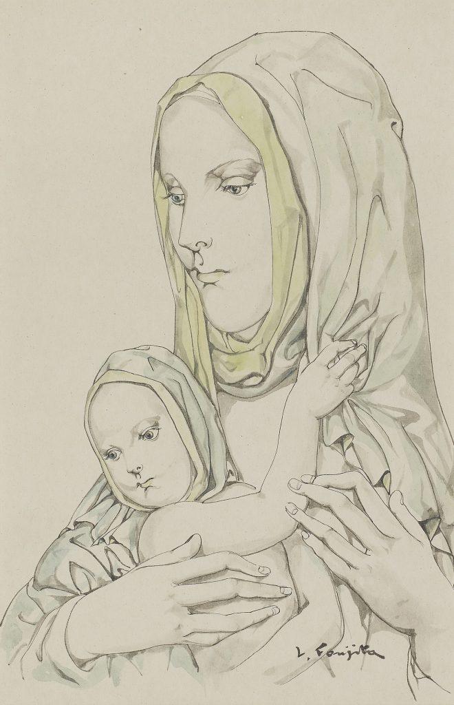 藤田嗣治「母子像」37.1×24.1cm